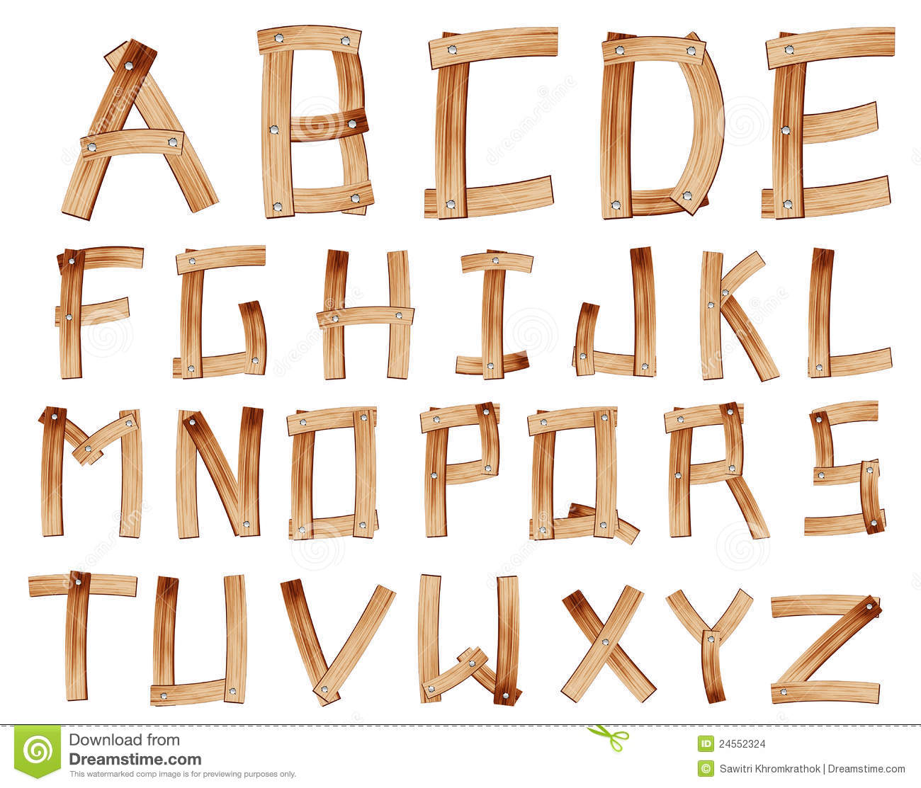 Vector Wooden Alphabet Stock Images  Image 24552324