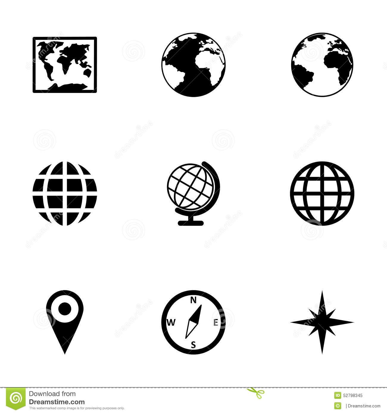 Vector World Map Icon Set Stock Vector Illustration Of