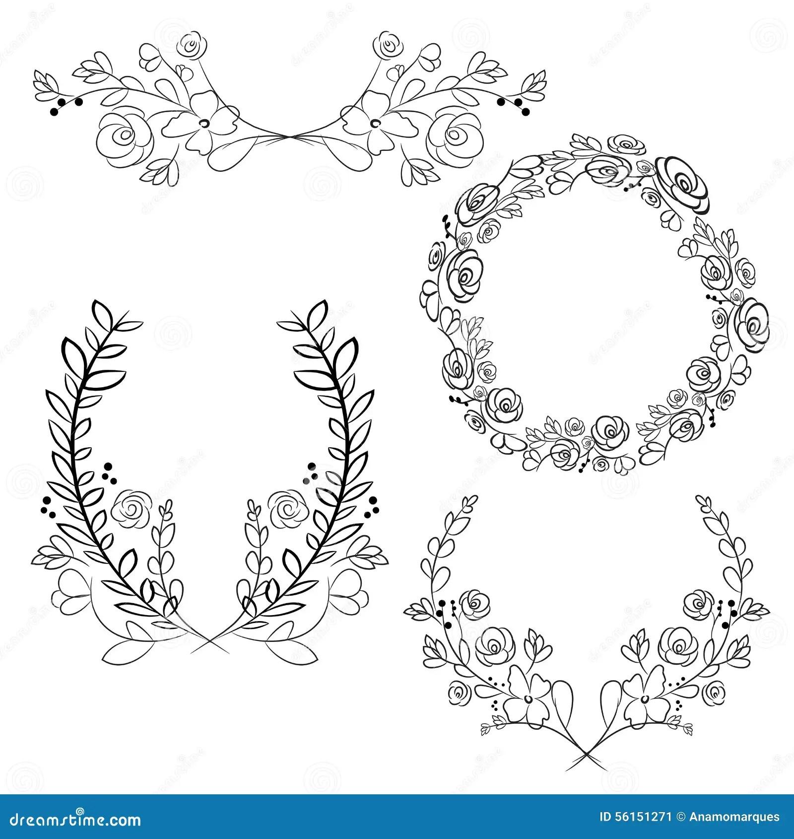 Vector Wreaths And Laurel Wreaths Round Flower Vector