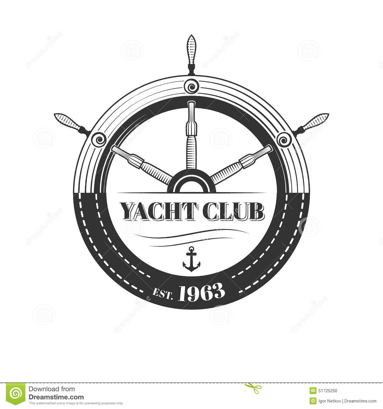Vector Yacht Club Logo Stock Vector