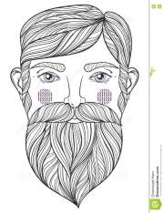 vector mustache and beard mens