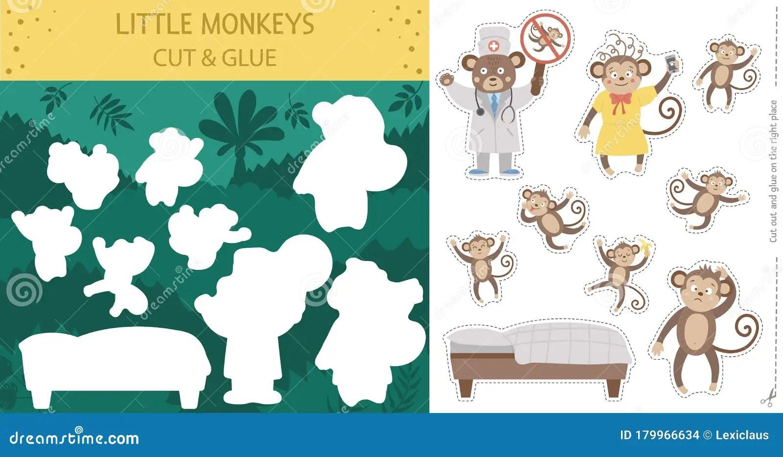 Vector Zomersnijden En Lijmactiviteit Met Vijf Kleine Apen