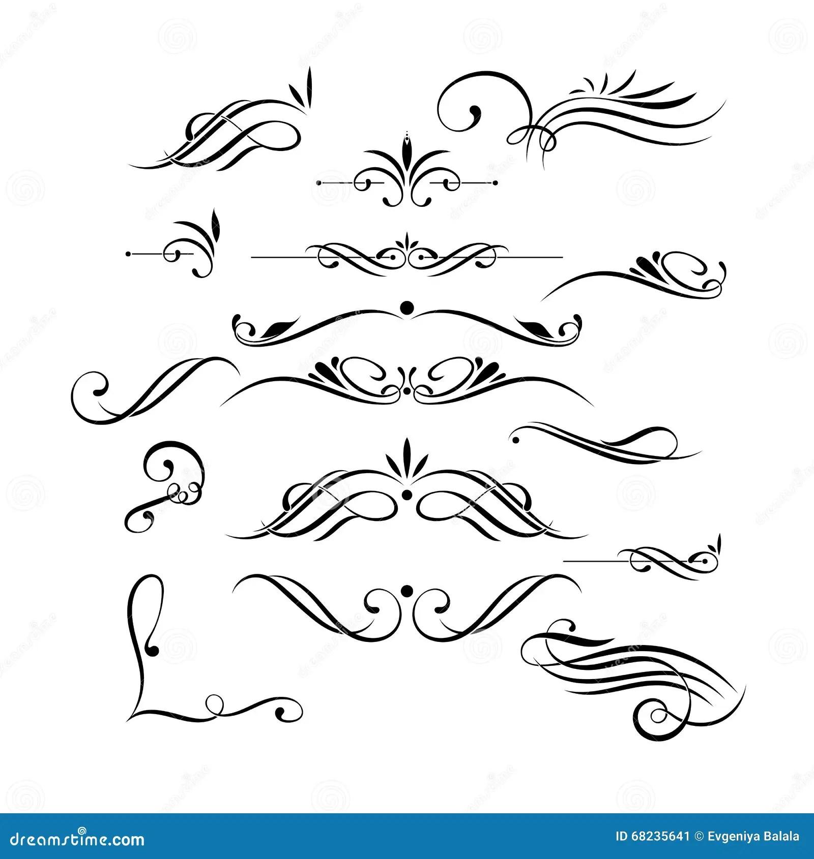 Vectorreeks Elegante Krullen En Wervelingen Elementen Voor