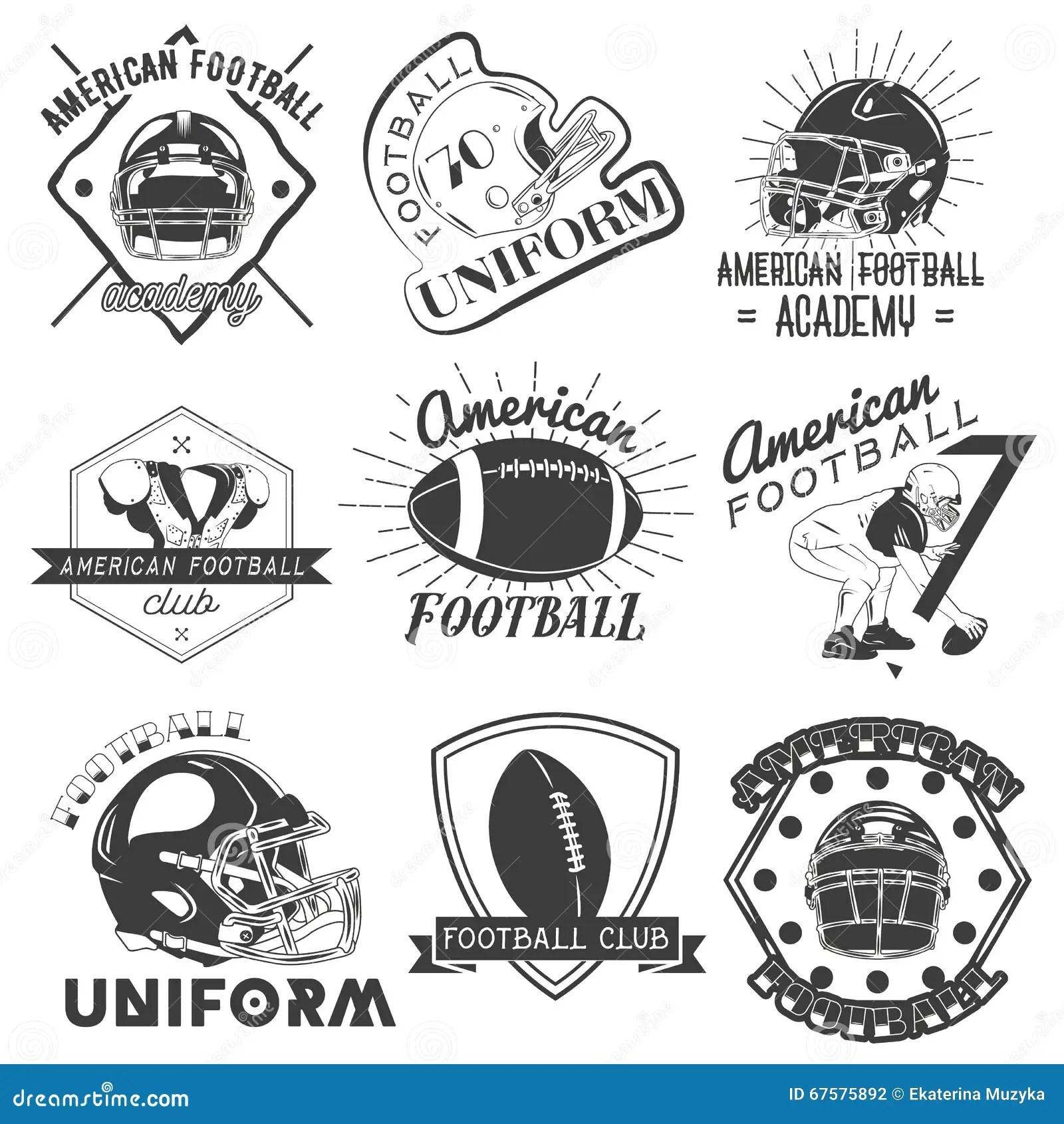 Vectorreeks Rugby En Amerikaanse Voetbaletiketten In