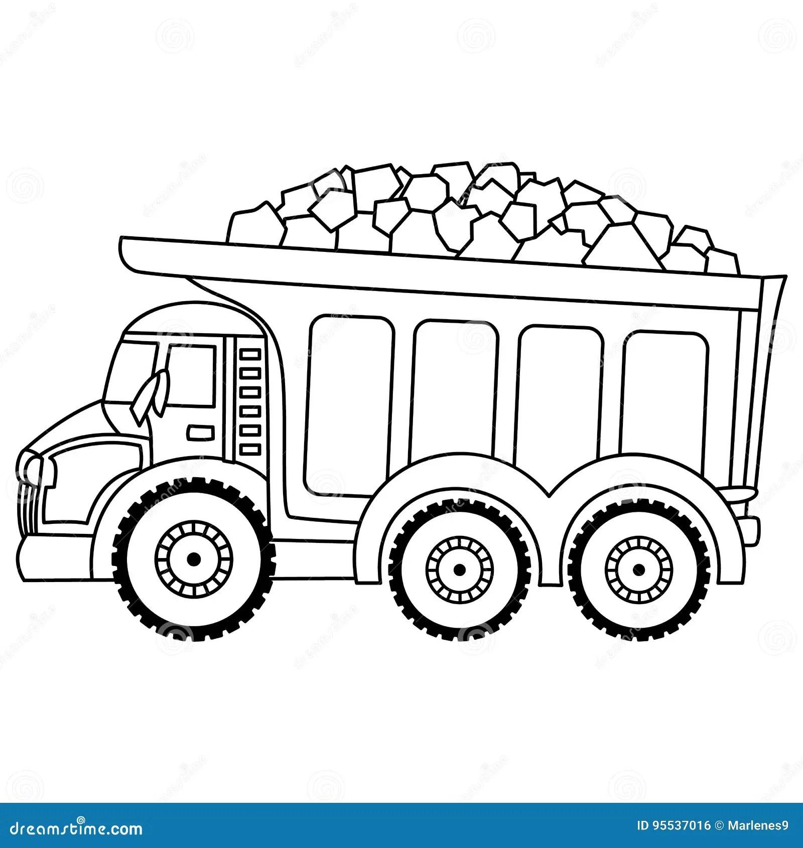 Vectorstortplaatsvrachtwagen Hallo Hi Detailed Commerciele