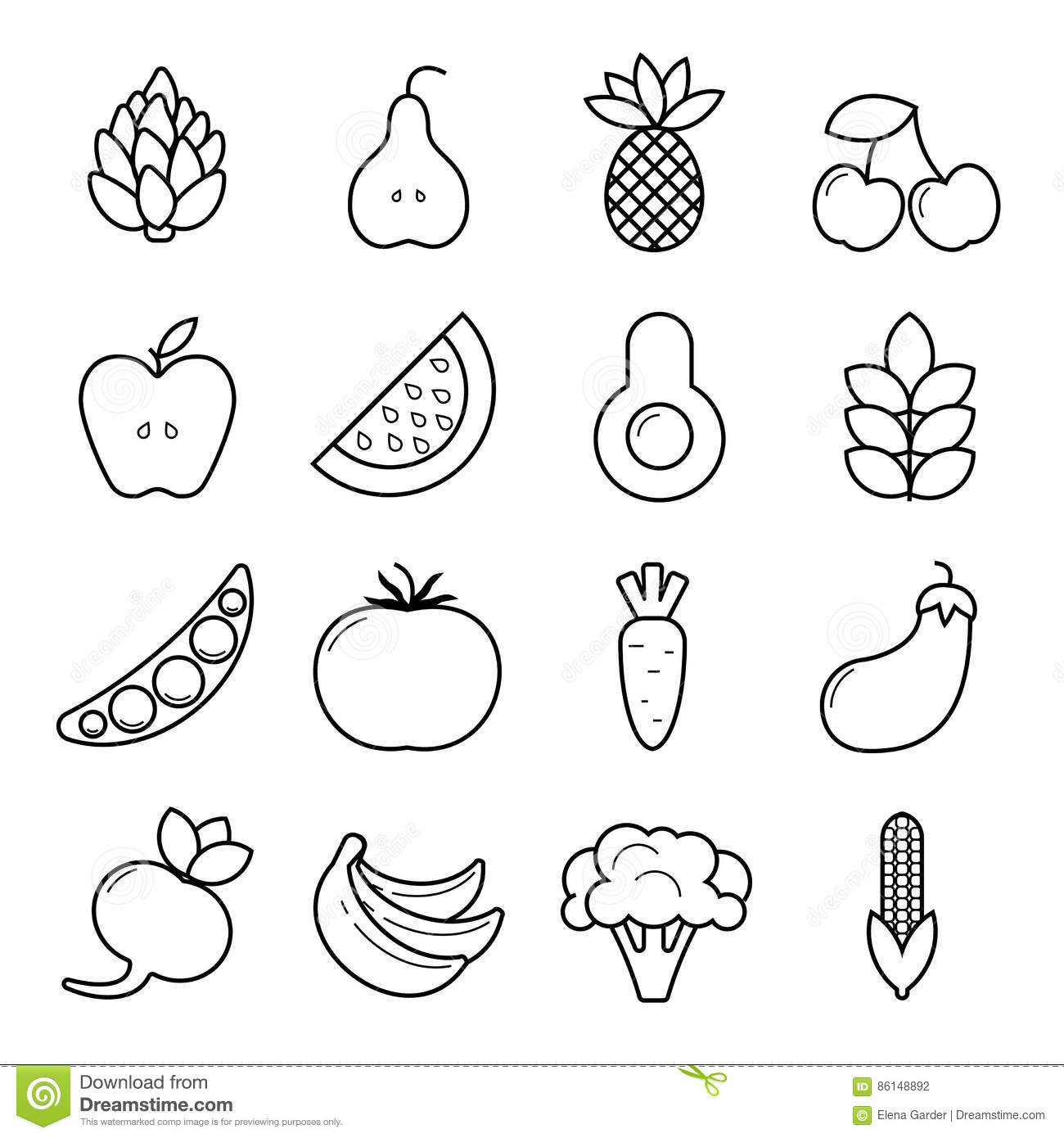 Vegan Icon Set. Outline Vegetables And Fruits Isolated On