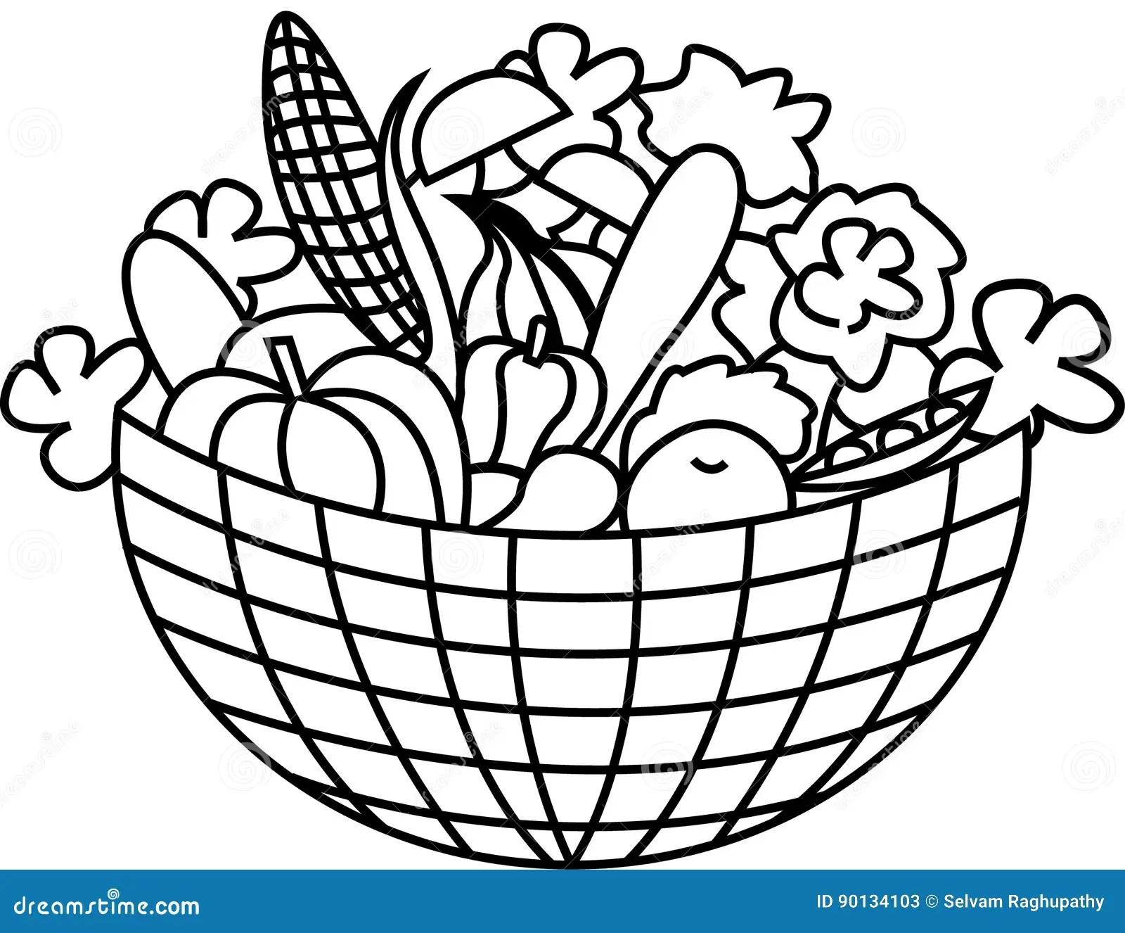 Vegetables In A Basket Stock Vector Illustration Of Corn