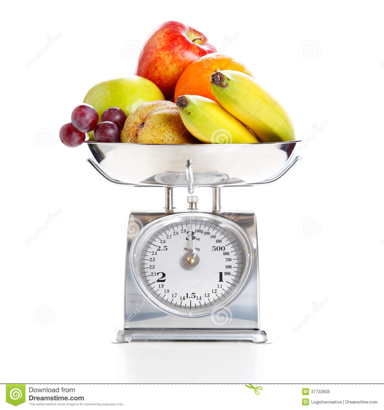 Vegetables And Fruits On A Weighing Scale Stock Image