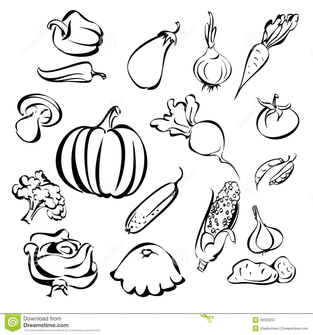 Vegetables Icon Set Sketch Royalty Free Stock Photography