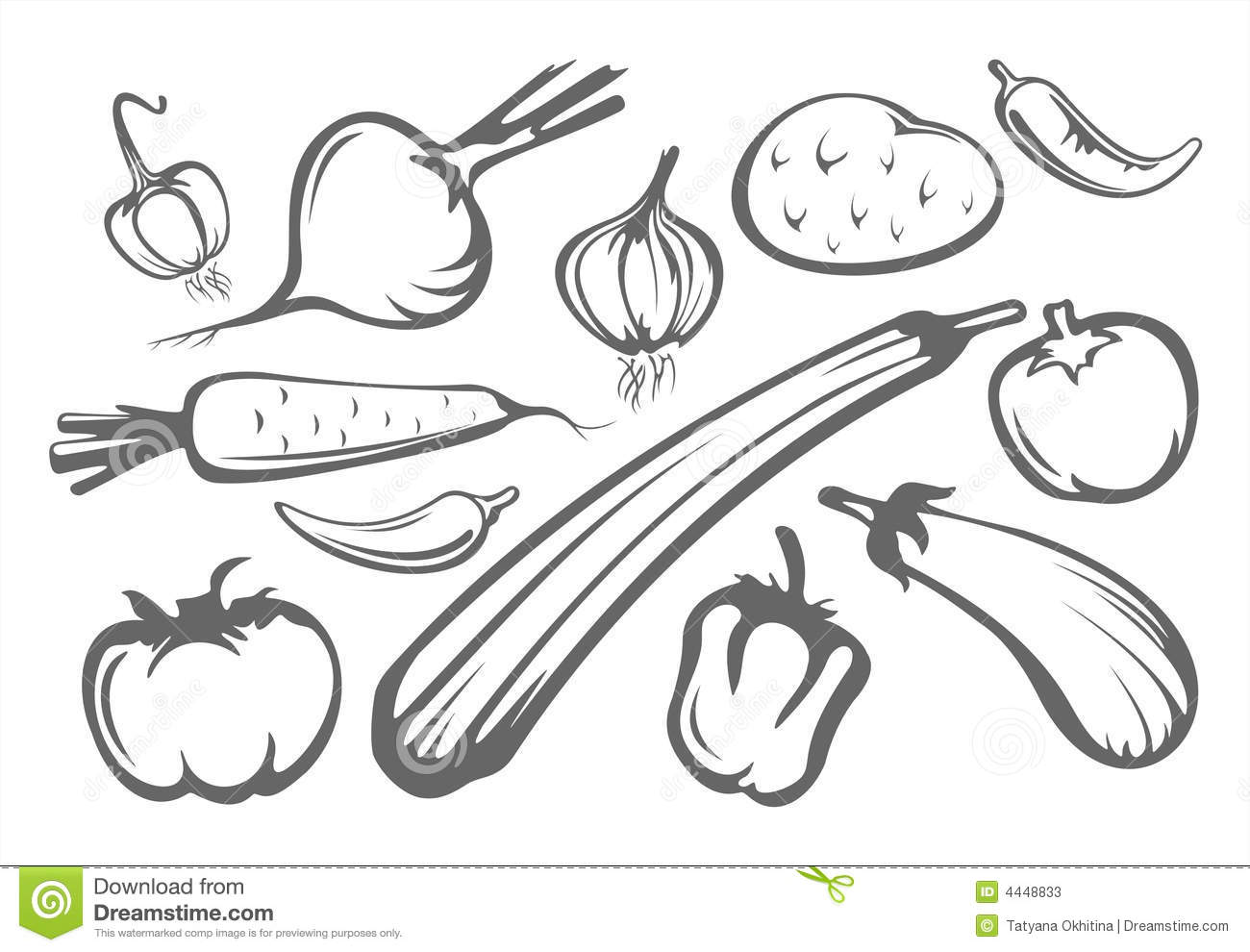 Vegetables Silhouettes Stock Photos
