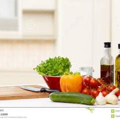 Kitchen Food Preparation Table Kidkraft Grand Gourmet Corner Play Set Vegetables Spices And Kitchenware On Stock Photo