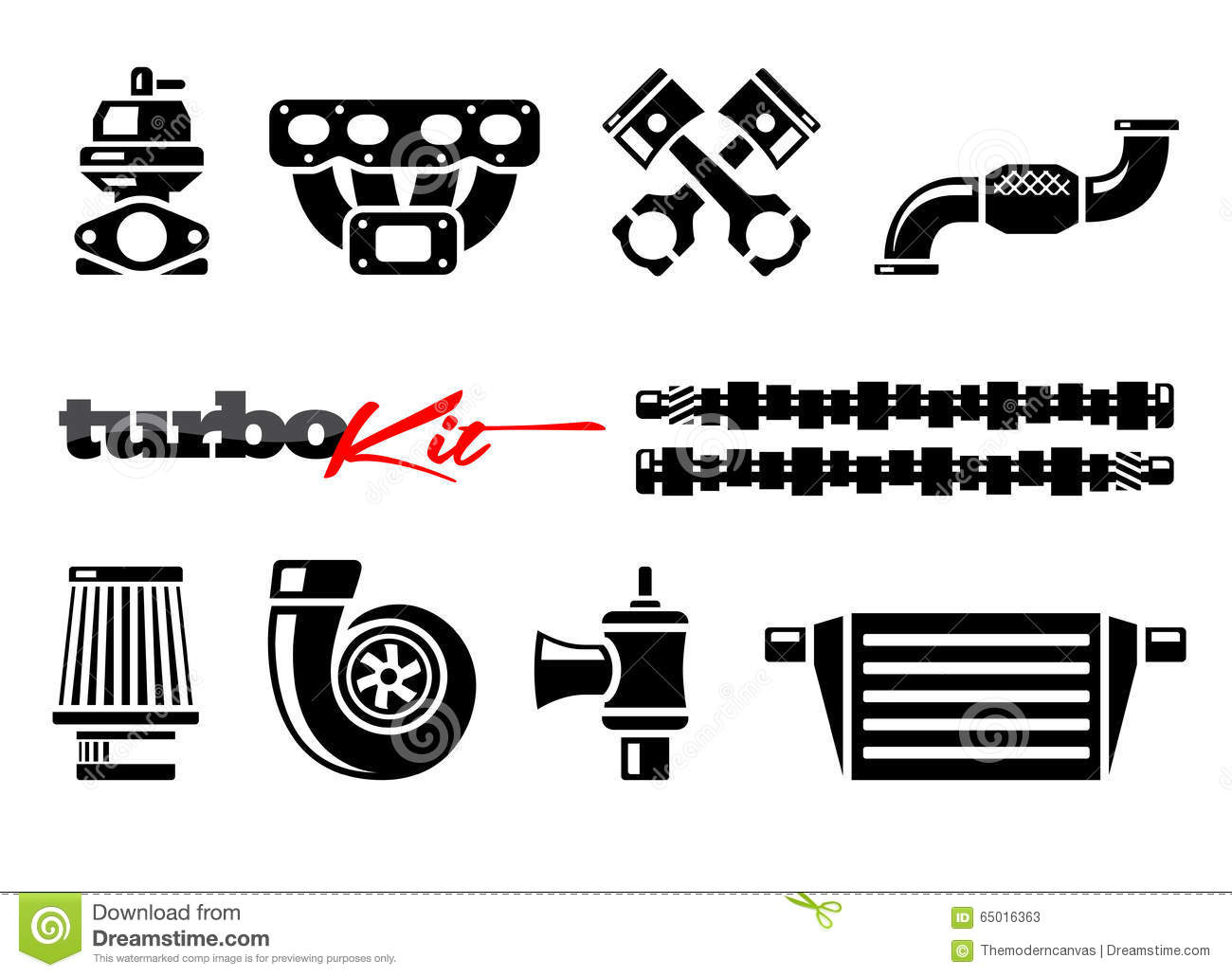Vehicle Turbo Kit Performance Car Parts Icons Set Stock