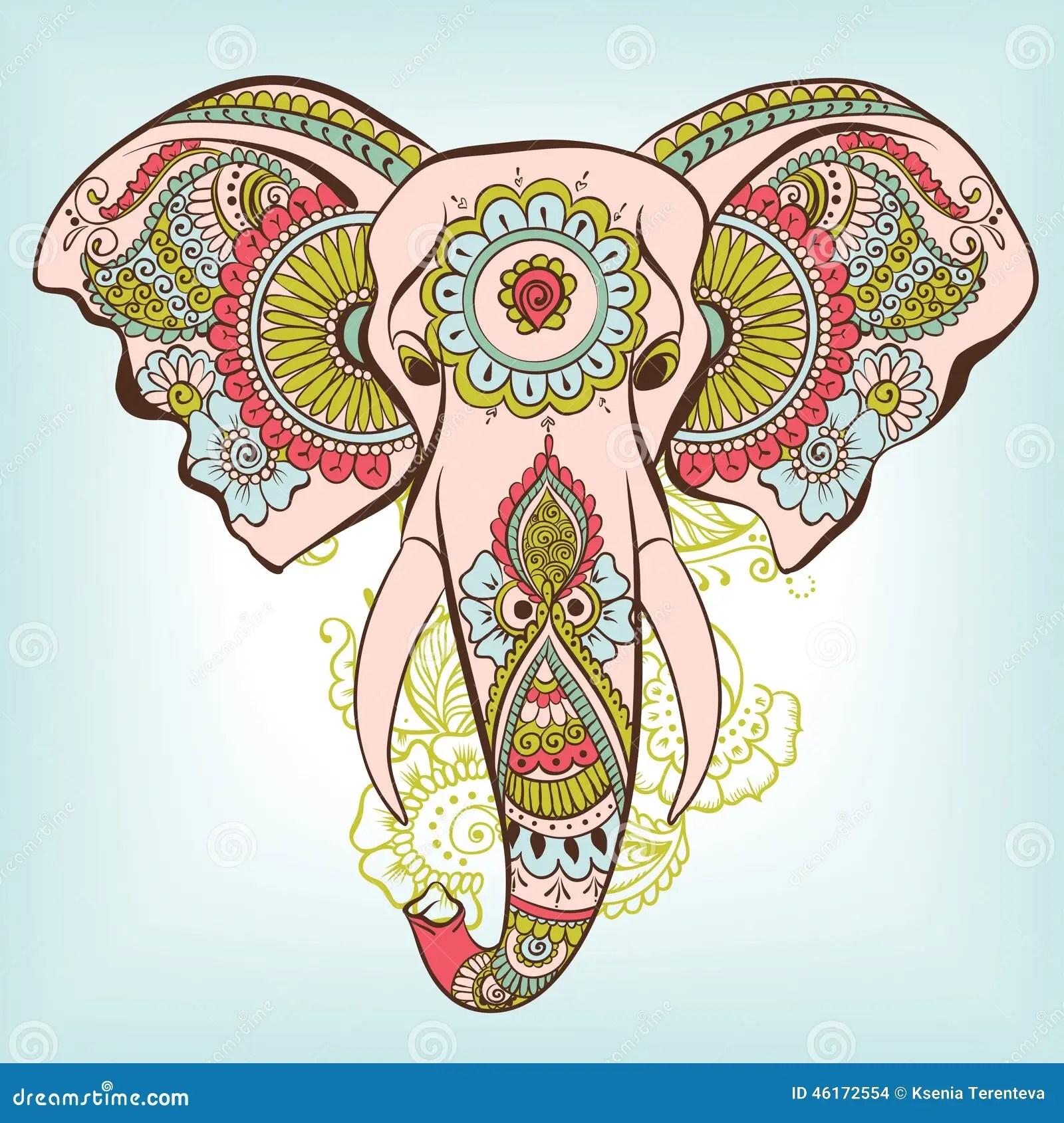 VektorElefant Auf Henna Indian Ornament Vektor Abbildung