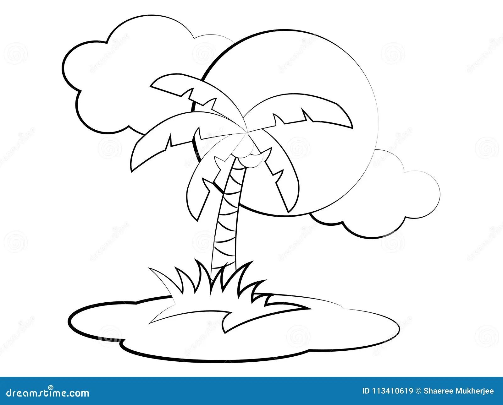 Vektor Karikatur Palme Farbton Seite Vektor Abbildung