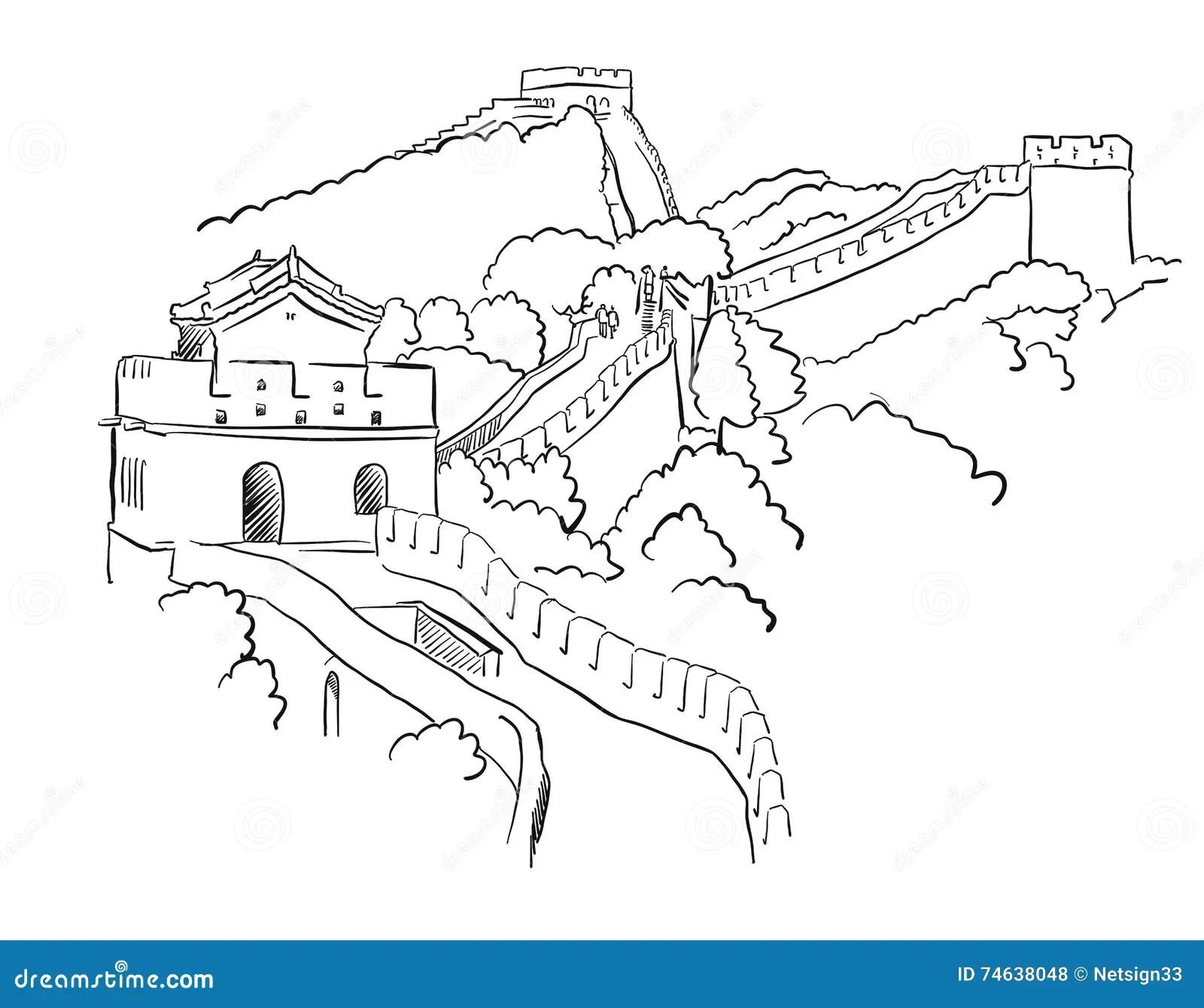Vektor Skizze China Chinesischer Mauer Vektor Abbildung