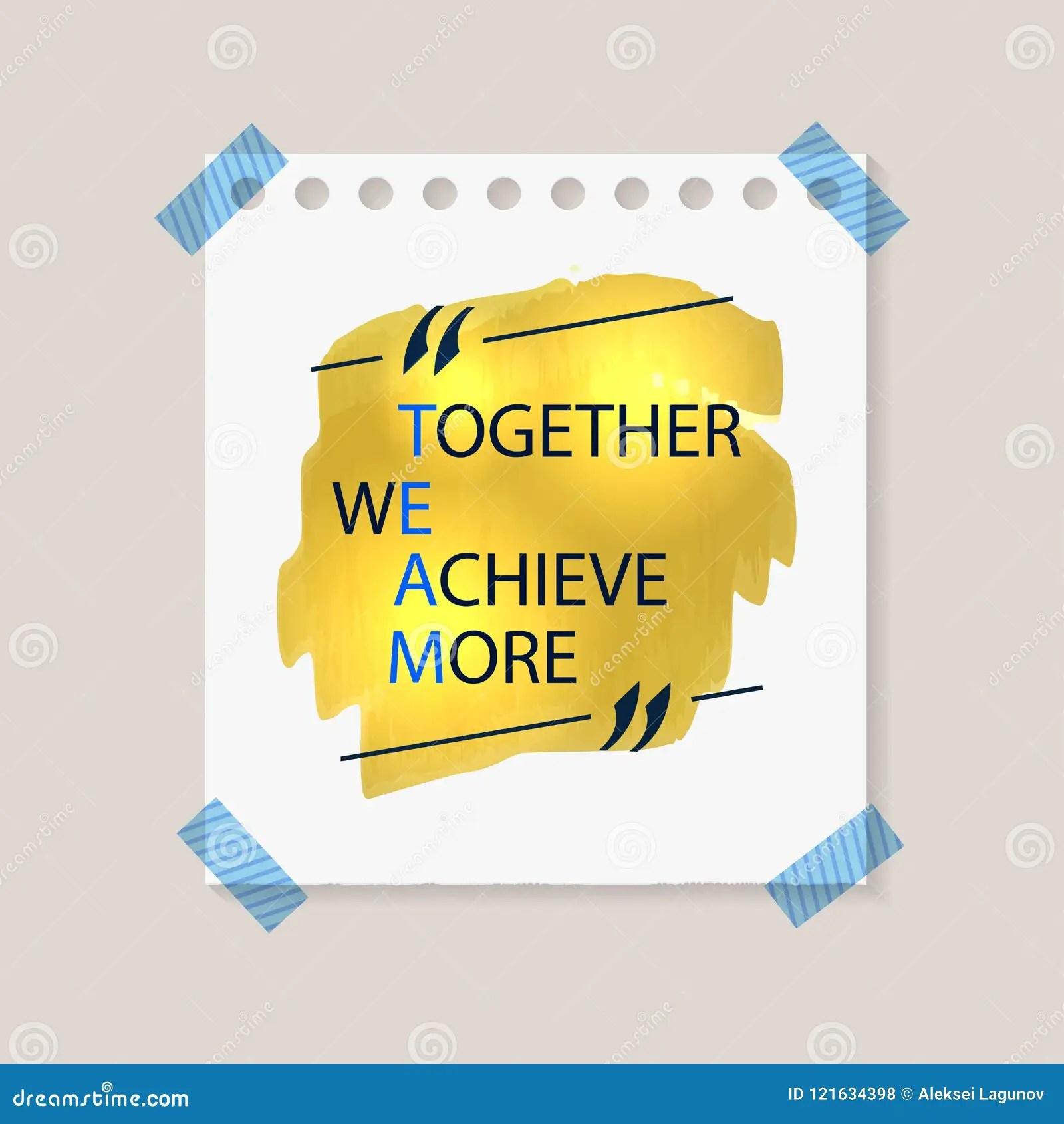 Vektor Team Lettering Zusammen Erzielen Wir Mehr Team