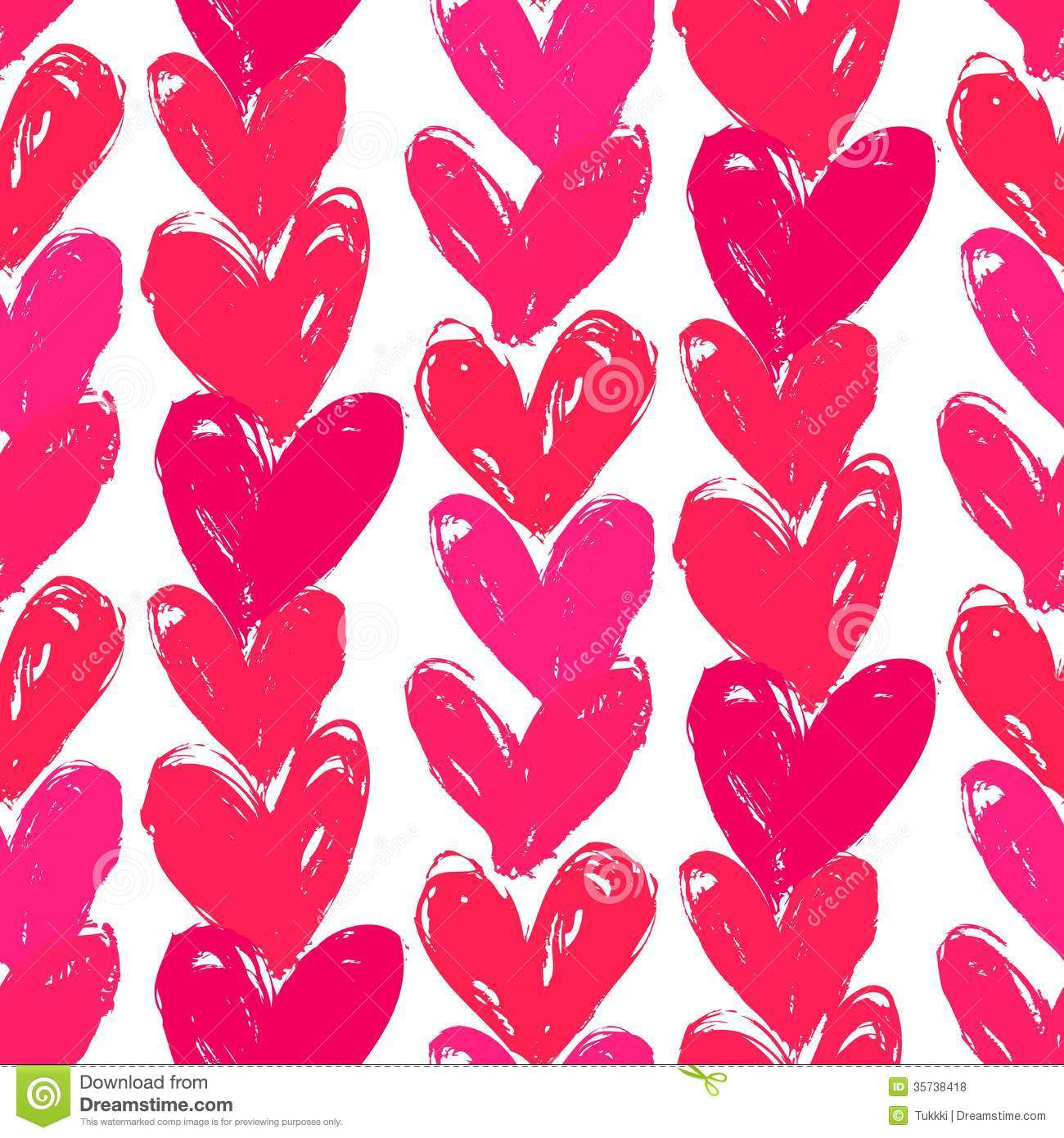 Velentine S Day Pattern With Hand Painted Hearts Stock Vector