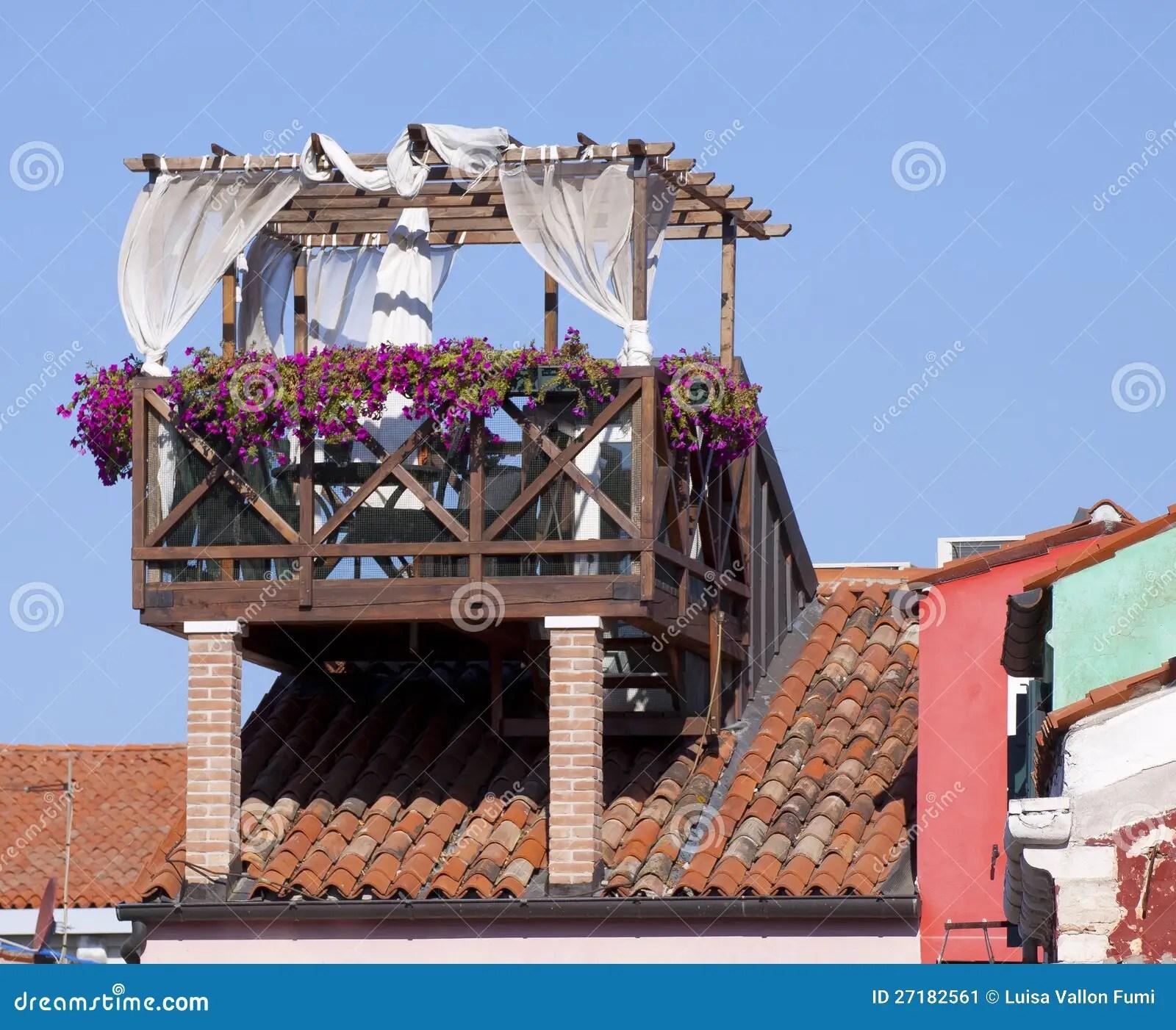 Venezia Terrazzo Sul Tetto Immagine Stock  Immagine di