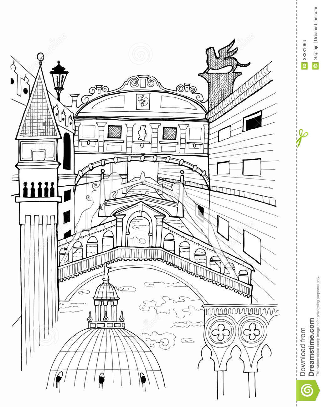 Stock Photo Venice Outline Drawing Image