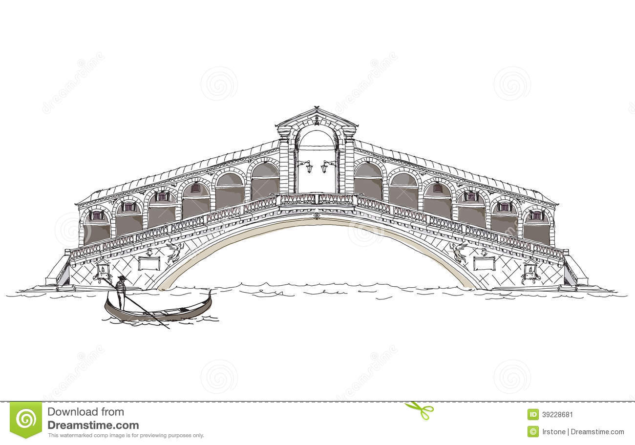 Venice Sketch Collection Bridge Of All Lovers Stock