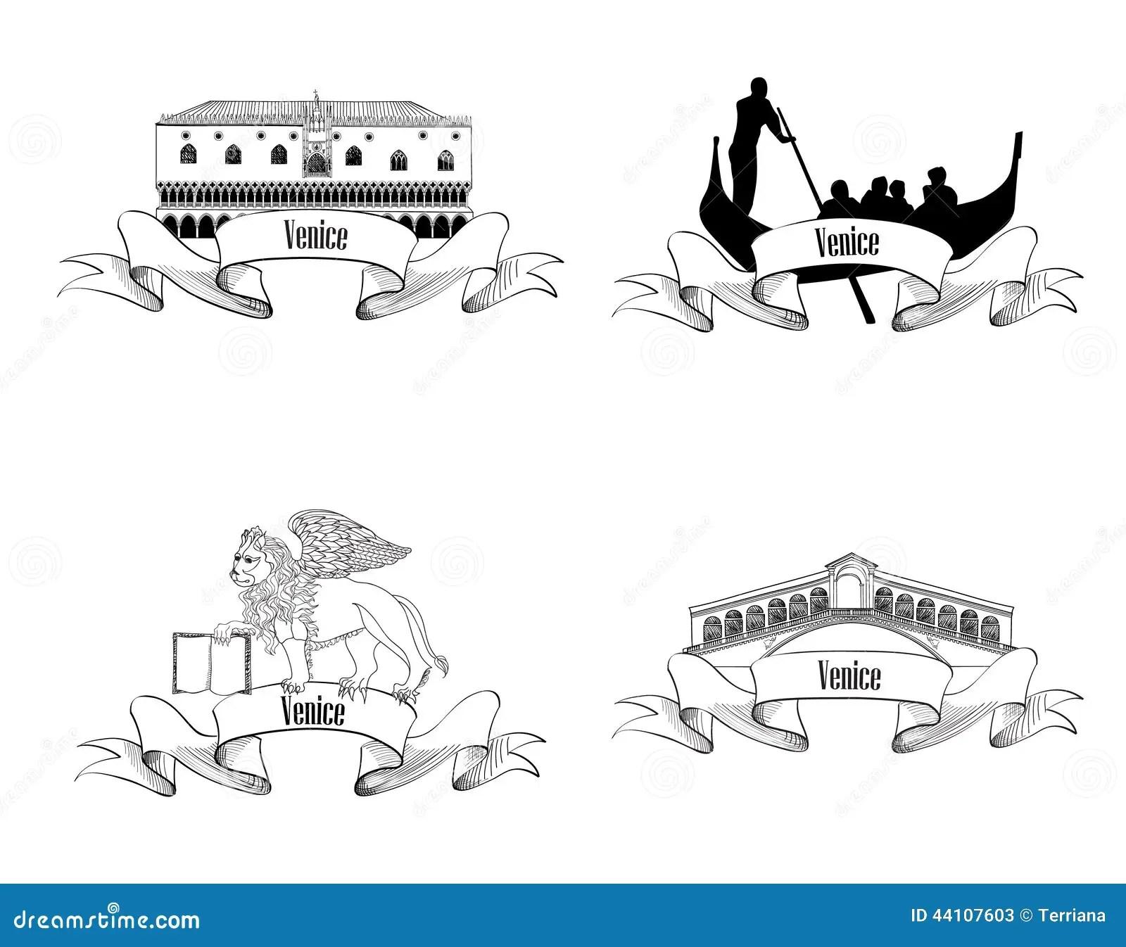 Venice Symbol Set Travel Italy Label Set Stock