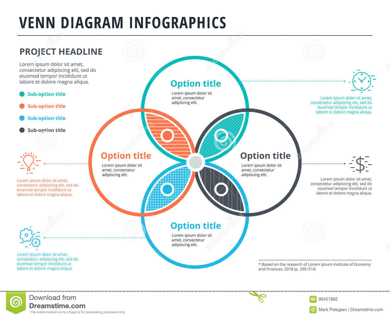hight resolution of venn diagram with 4 circles infographics template design vector
