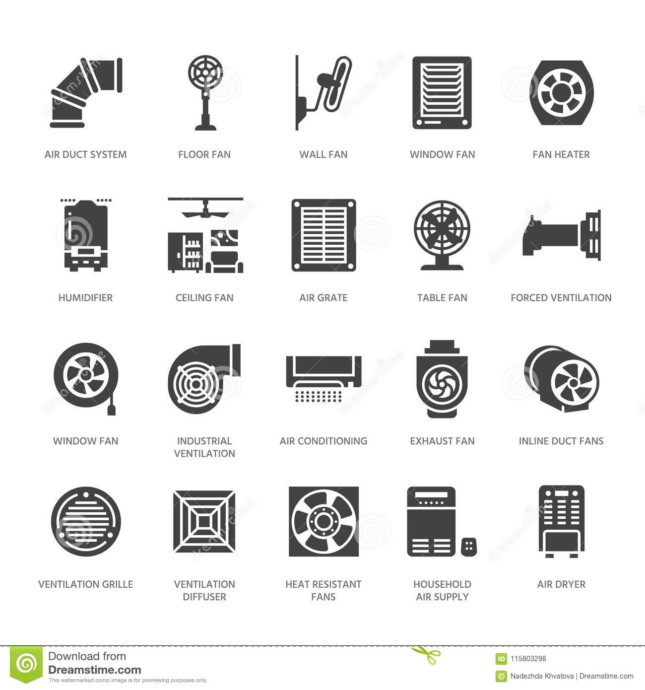 Ventilation Equipment Glyph Icons. Air Conditioning