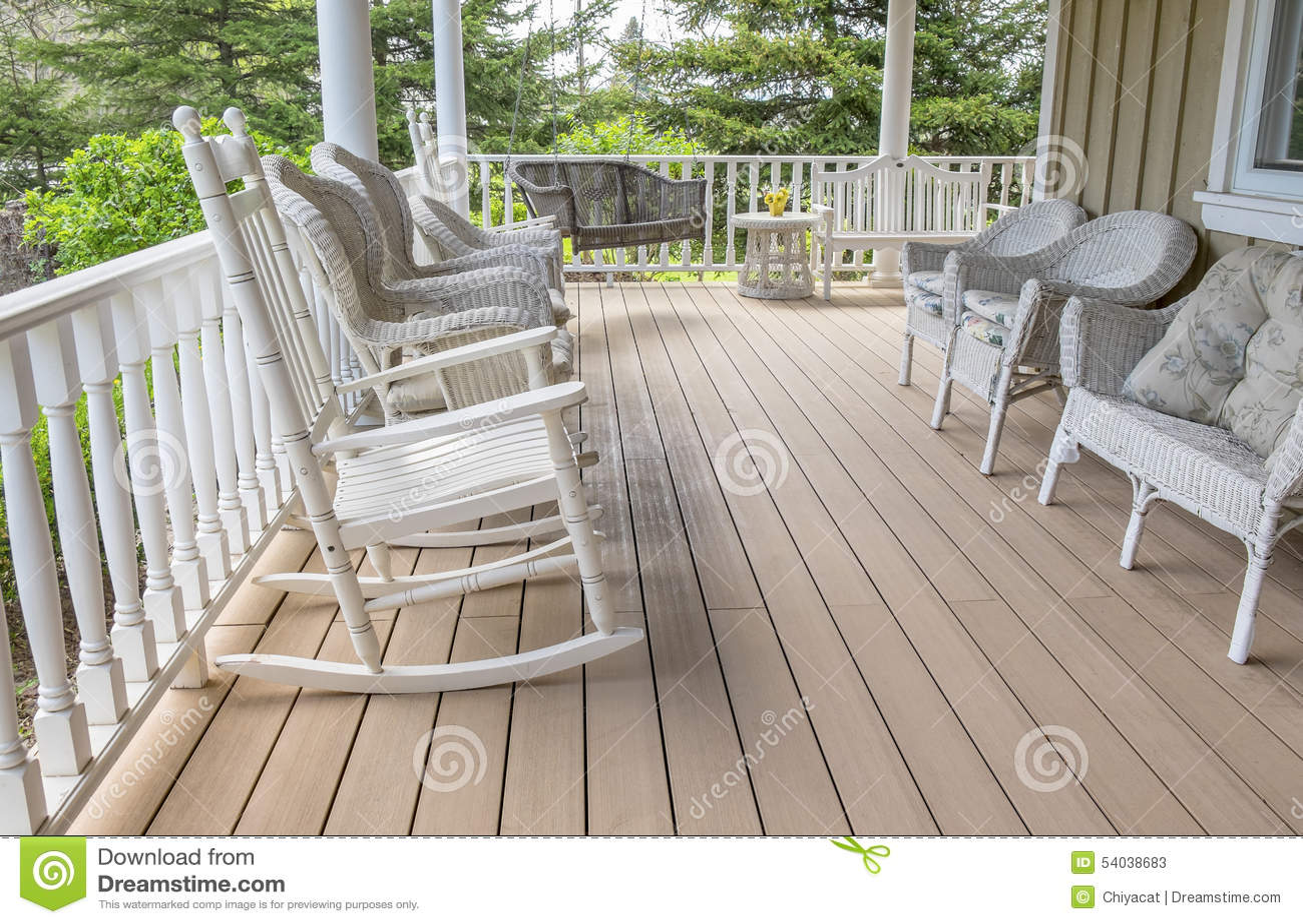 veranda chair design oversized zero gravity filled with white wicker furniture stock image