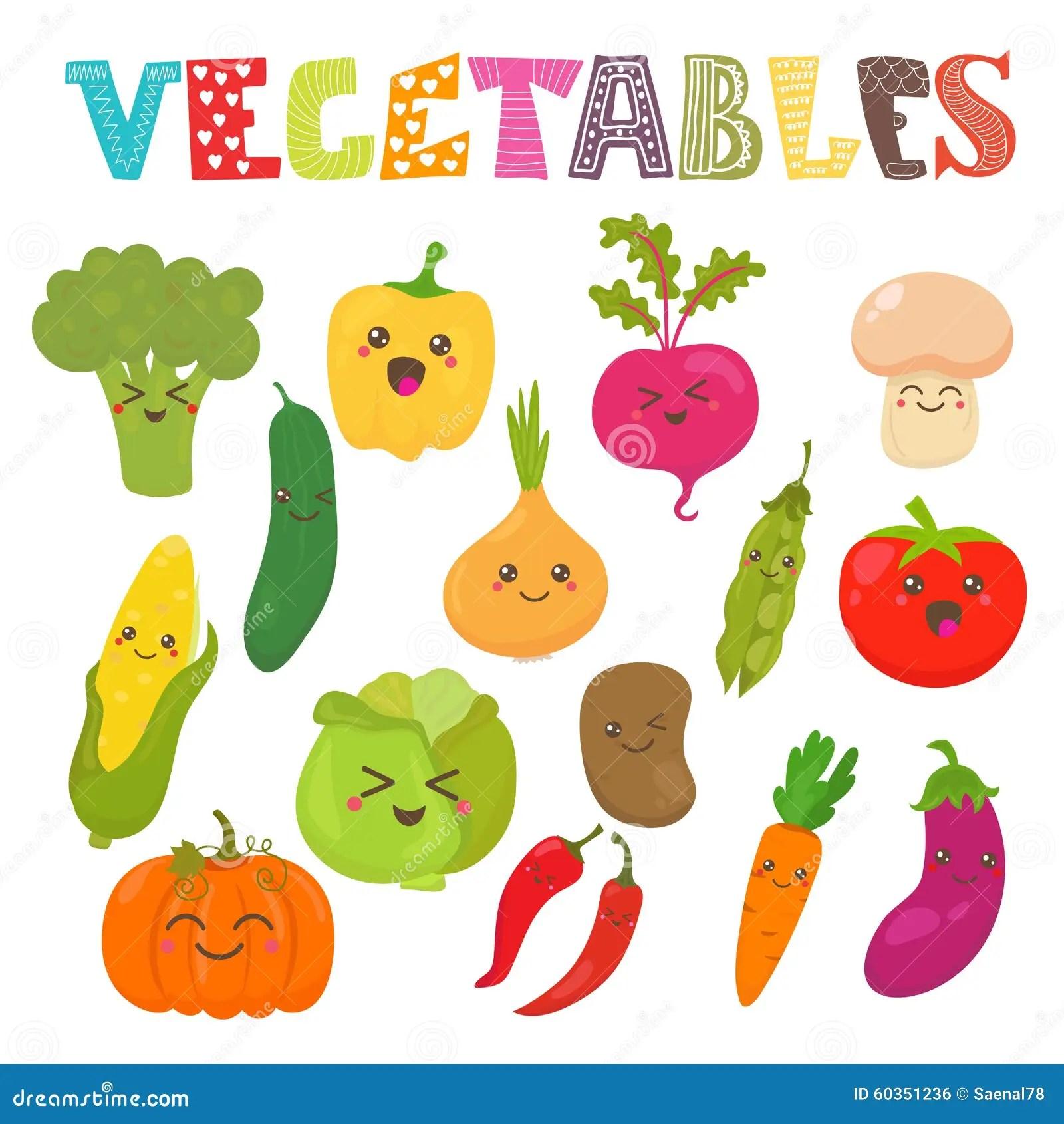 Verduras Sonrientes Del Kawaii Lindo Coleccin Sana Del