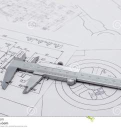 vernier caliper lying on mechanical scheme  [ 1300 x 902 Pixel ]
