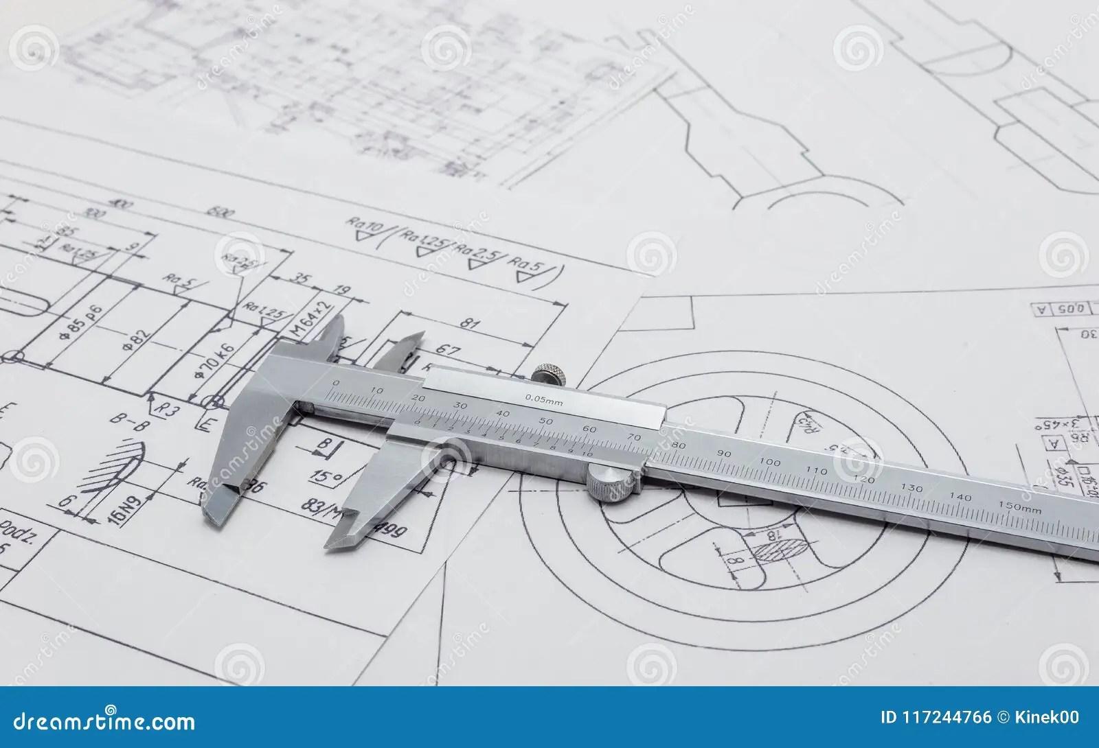 hight resolution of vernier caliper lying on mechanical scheme