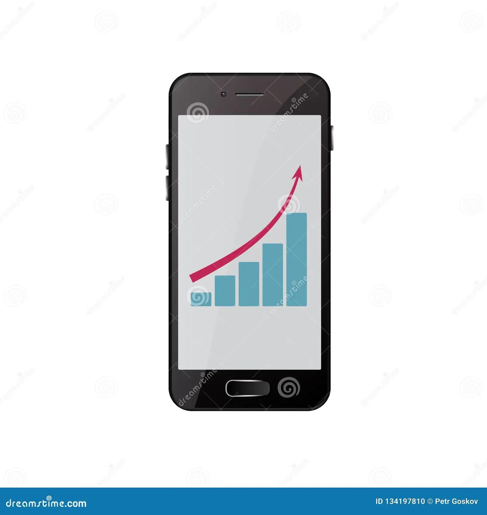 Vertical Bar Graph Stock Vector Illustration Of Mobile