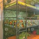 Vertical Cozy Room Interior With A Colorful Triple Bunk Bed For Children Stock Photo Image Of Bedroom Vertical 147968116