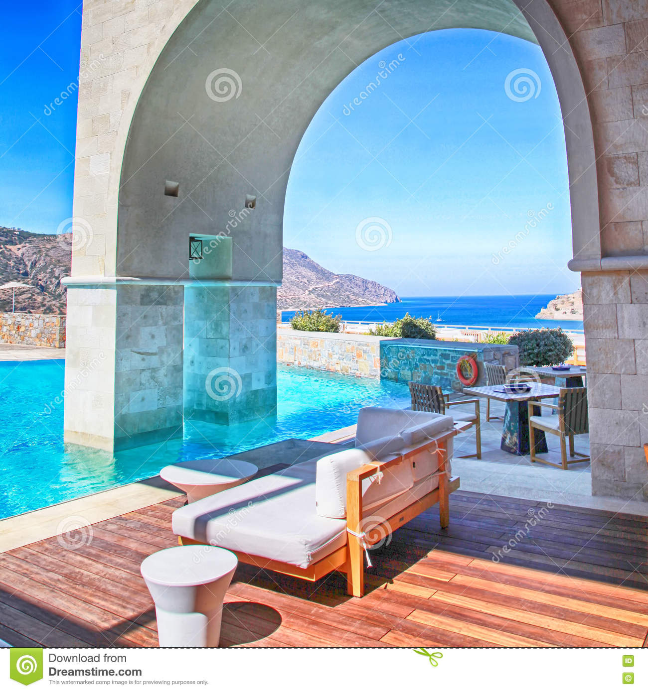 Vertical View Of Arch Pool Terrace On Summer Resort Greece