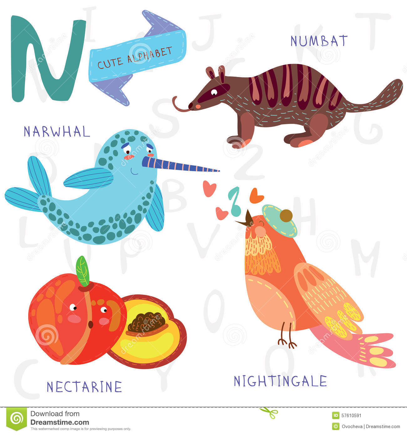 Very Cute Alphabet N Letter Rwhal Numb At Nightingale