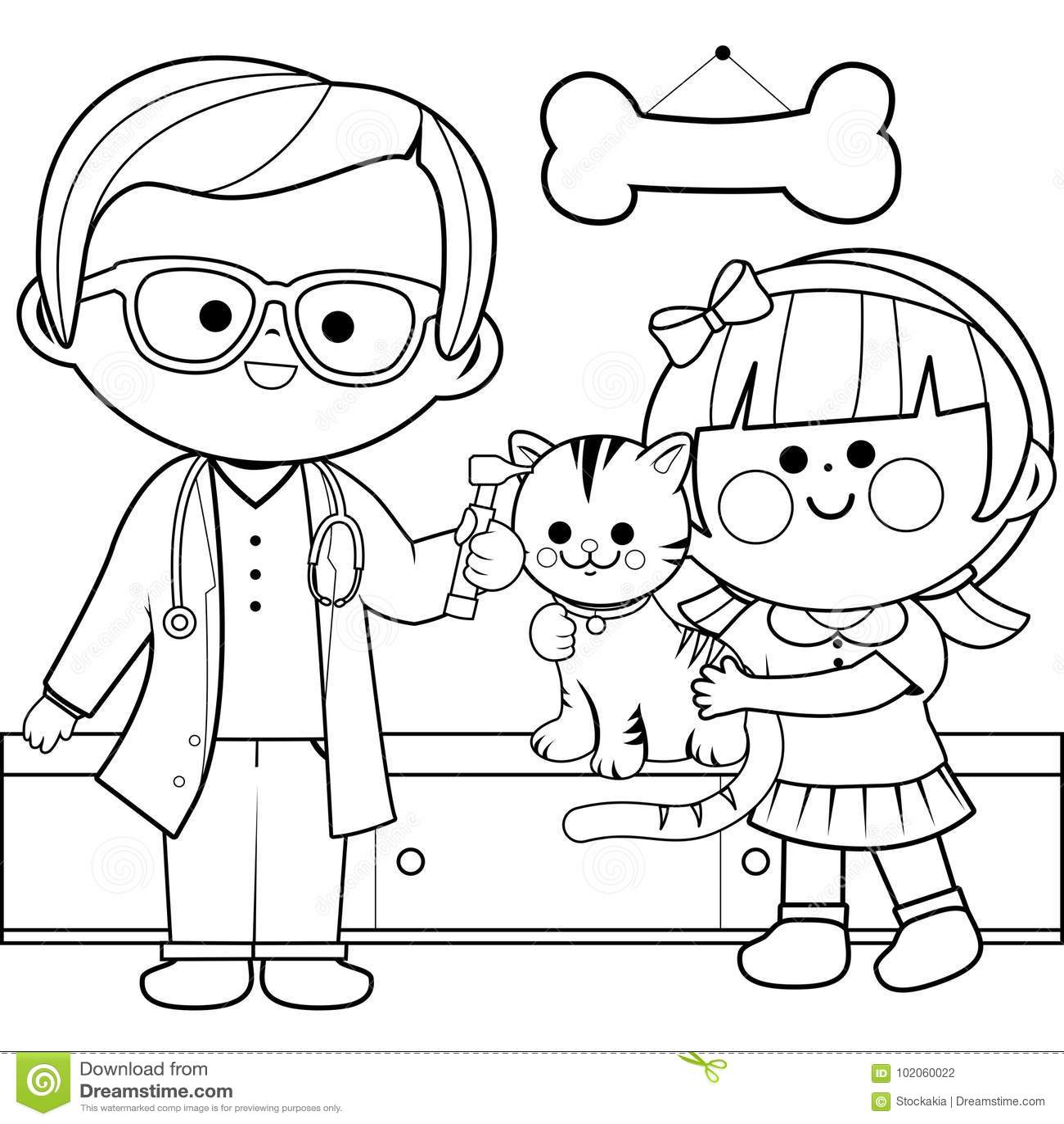 Veterinario Che Esamina Un Gatto Pagina Del Libro Da