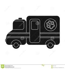 Veterinary Ambulance Icon In Black Style Isolated White
