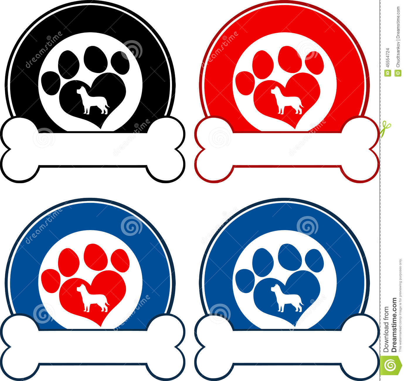 Veterinary Circle Labels With Love Paw Dog And Bone
