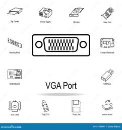vga port icon detailed set of computer part icons premium graphic design one [ 1600 x 1689 Pixel ]