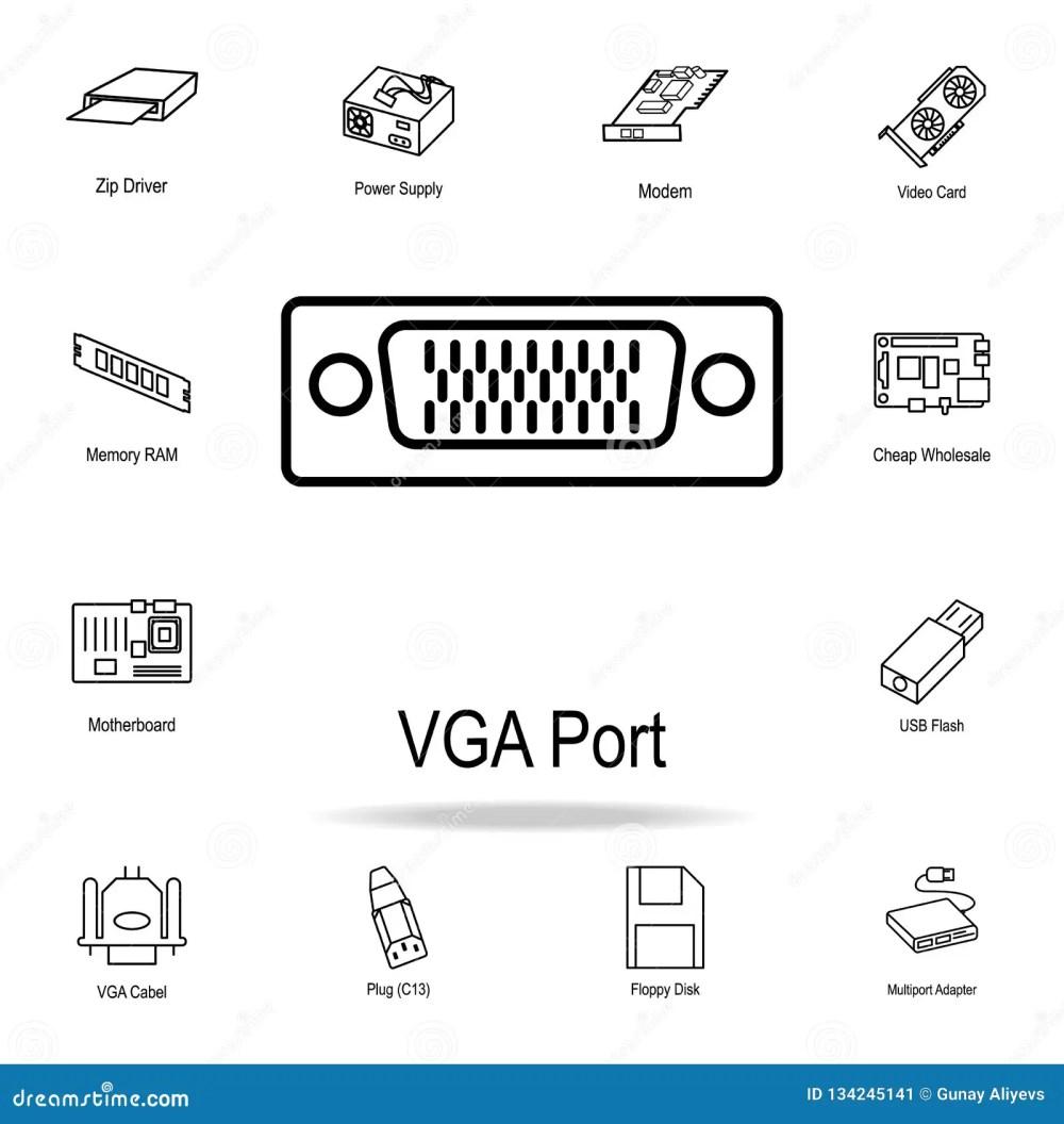 medium resolution of vga port icon detailed set of computer part icons premium graphic design one