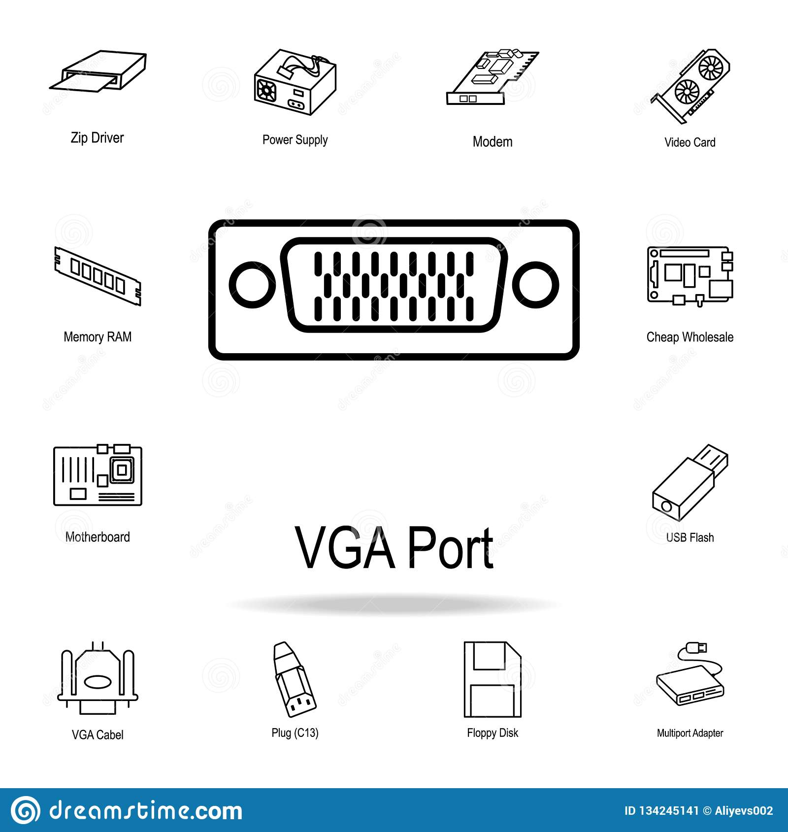 hight resolution of vga port icon detailed set of computer part icons premium graphic design one