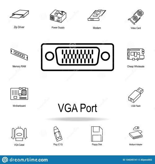 small resolution of vga port icon detailed set of computer part icons premium graphic design one