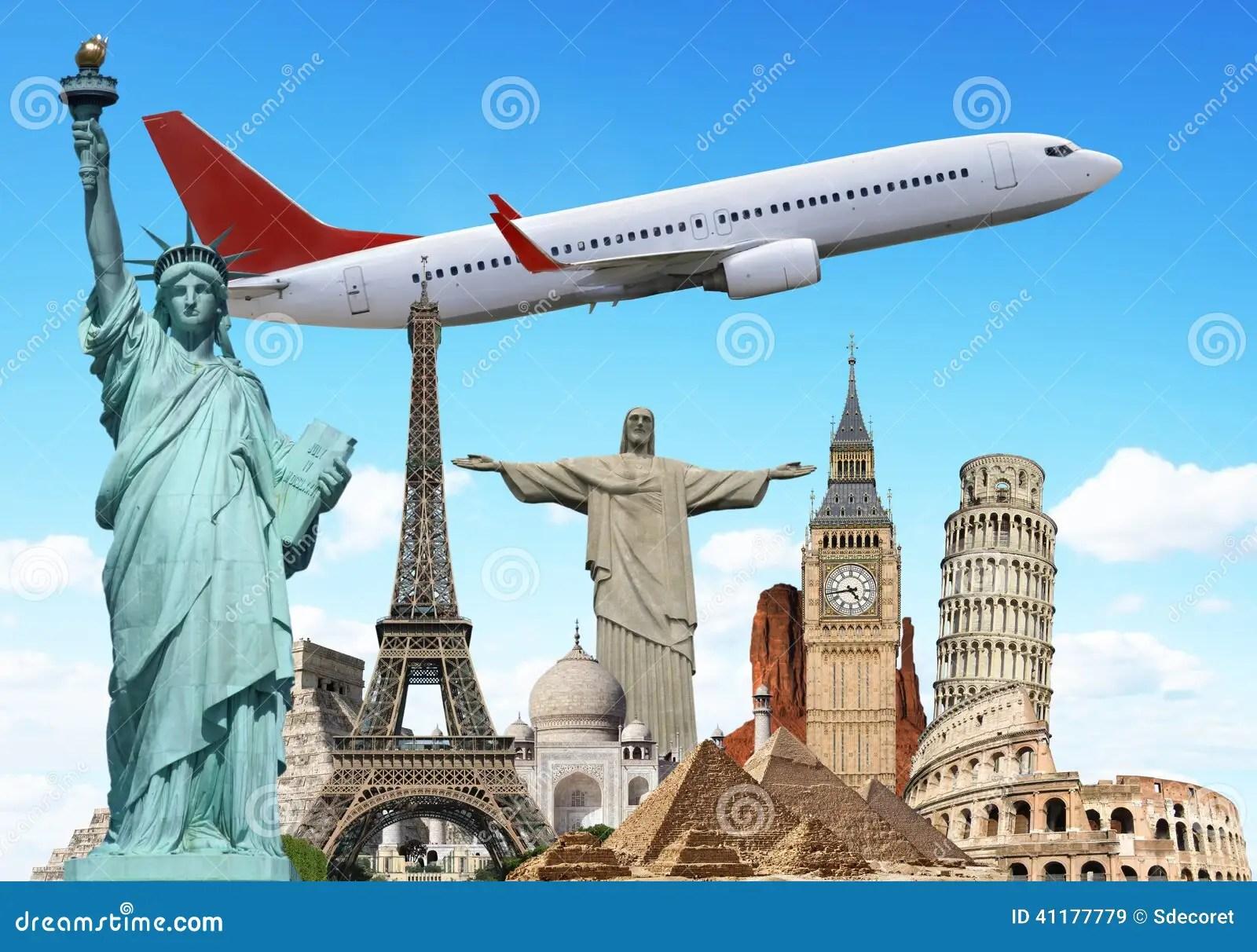 Viaggia Il Concetto Piano Dei Monumenti Del Mondo