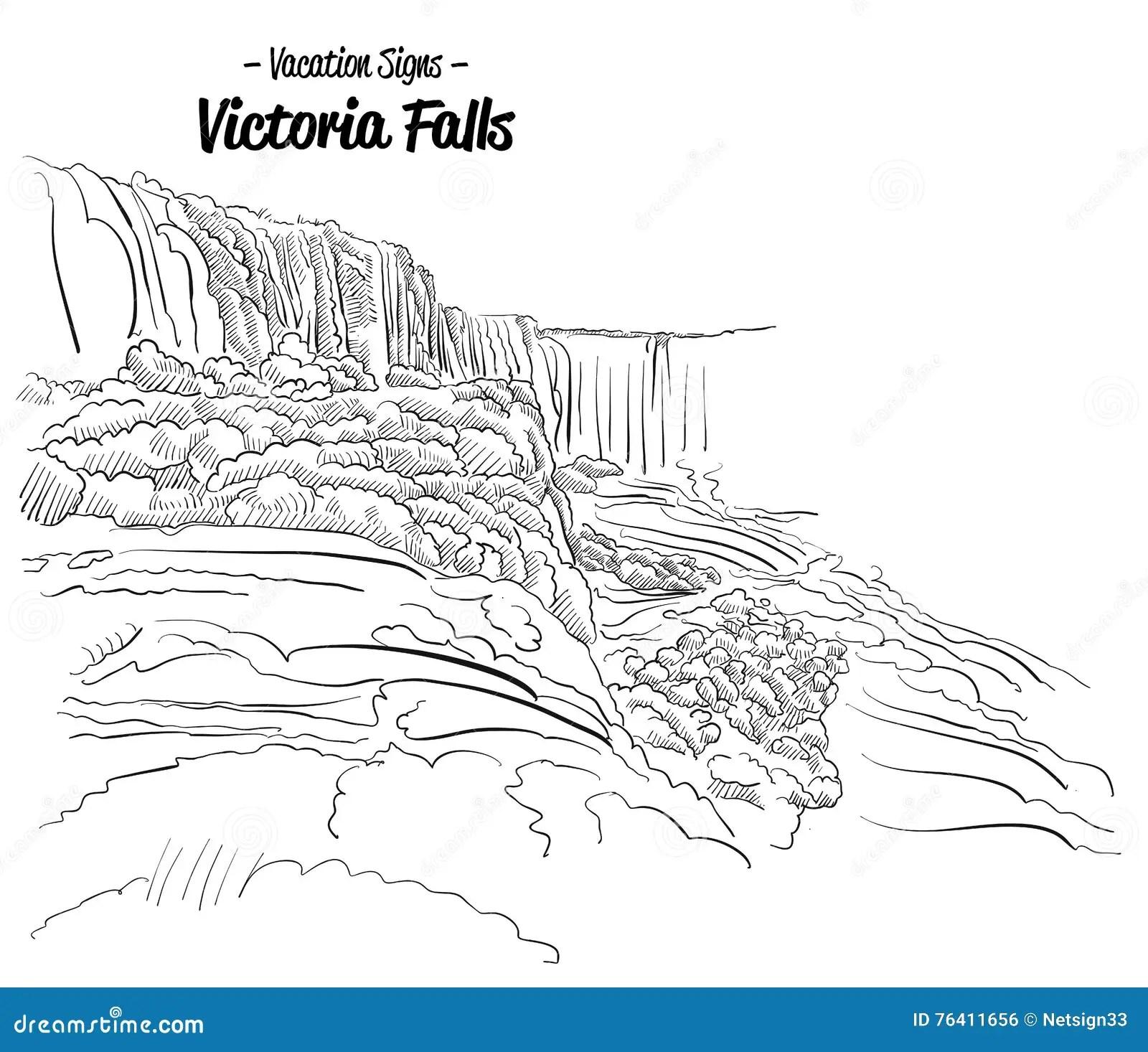 Victoria Falls Zimbabwe Landmark Sketch Stock Vector