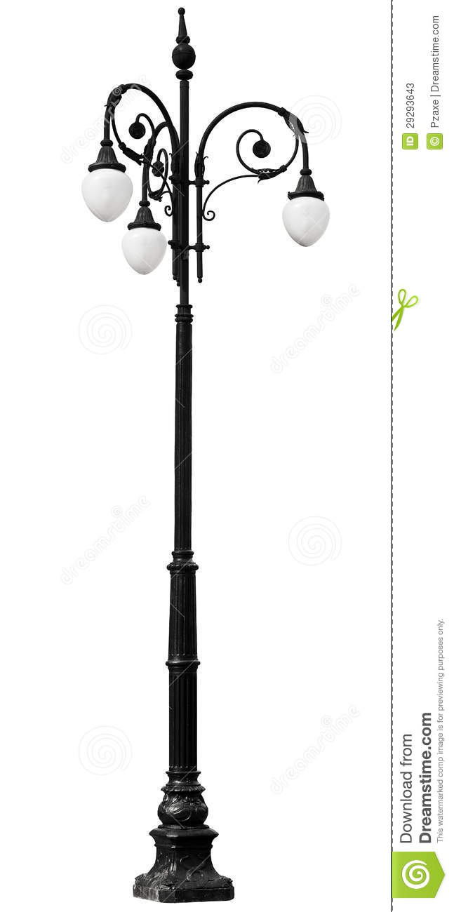 Victorian Vintage Lamp Post Isolated On White Background
