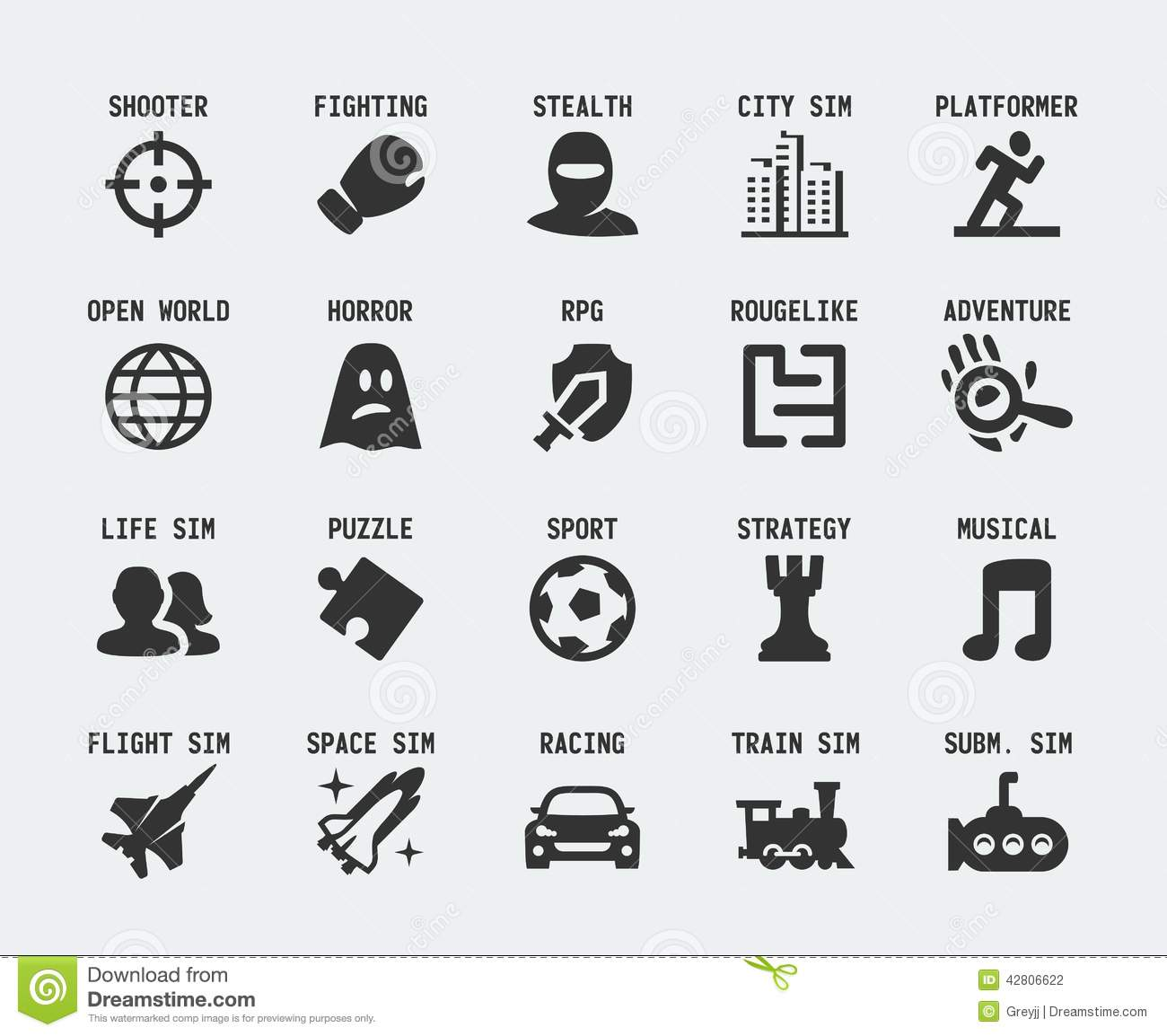 Video Game Genres Vector Icons Stock Vector