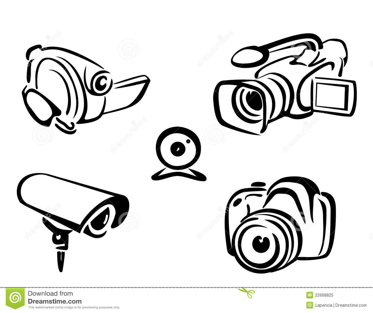 Video And Photo Cameras Collection Stock Vector