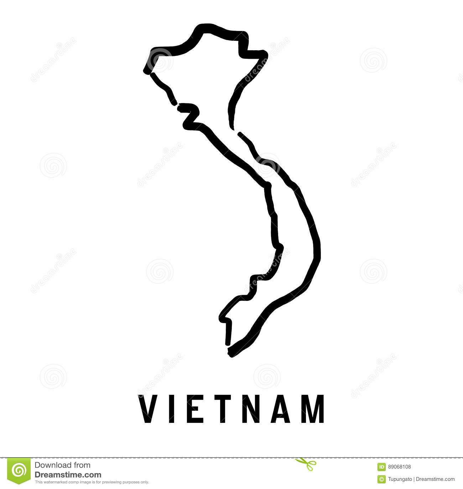Vietnam Map Outline Stock Vector Illustration Of Asia