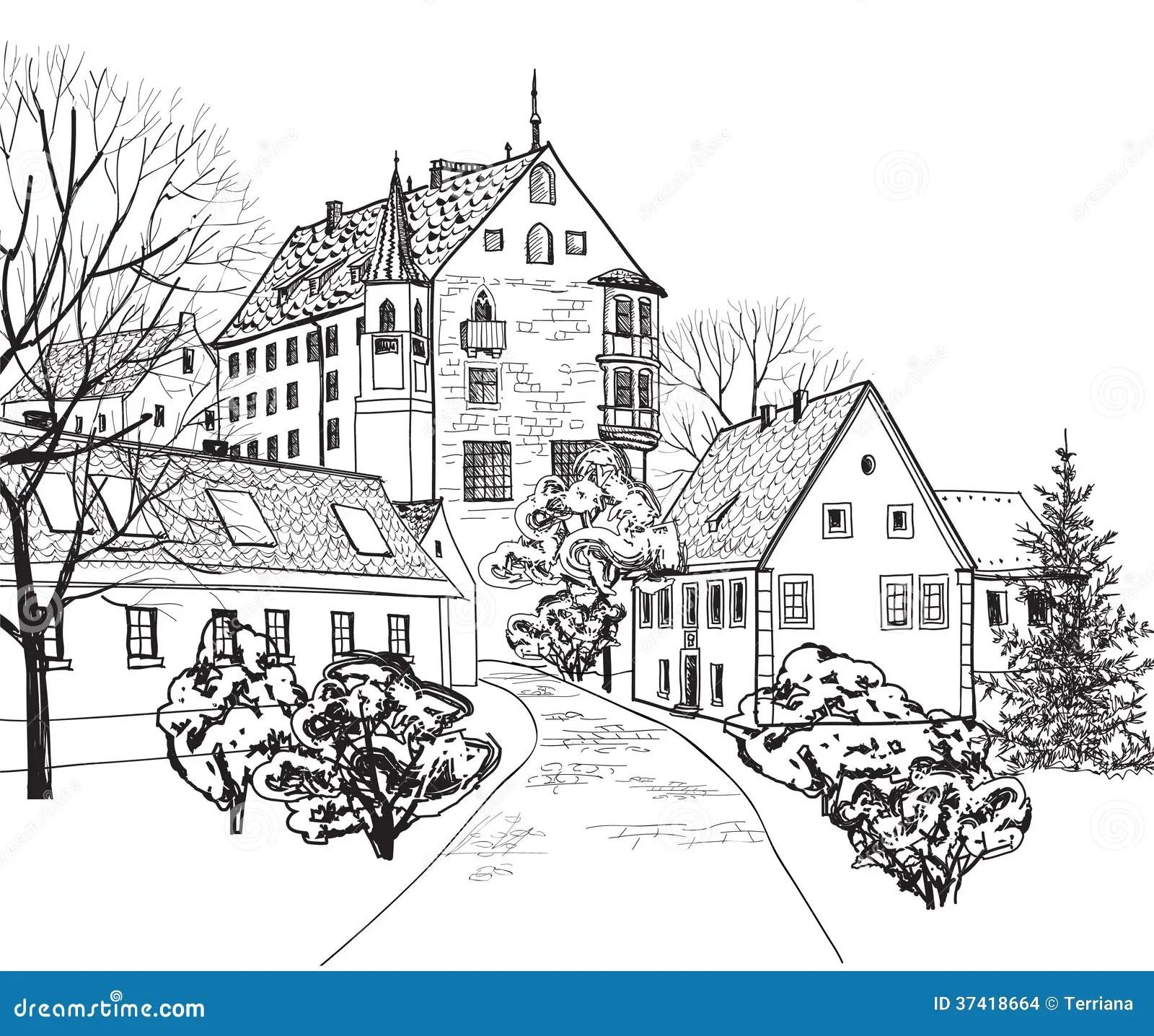 Vieux Paysage Urbain De Ville Avec La Rue. Croquis Du