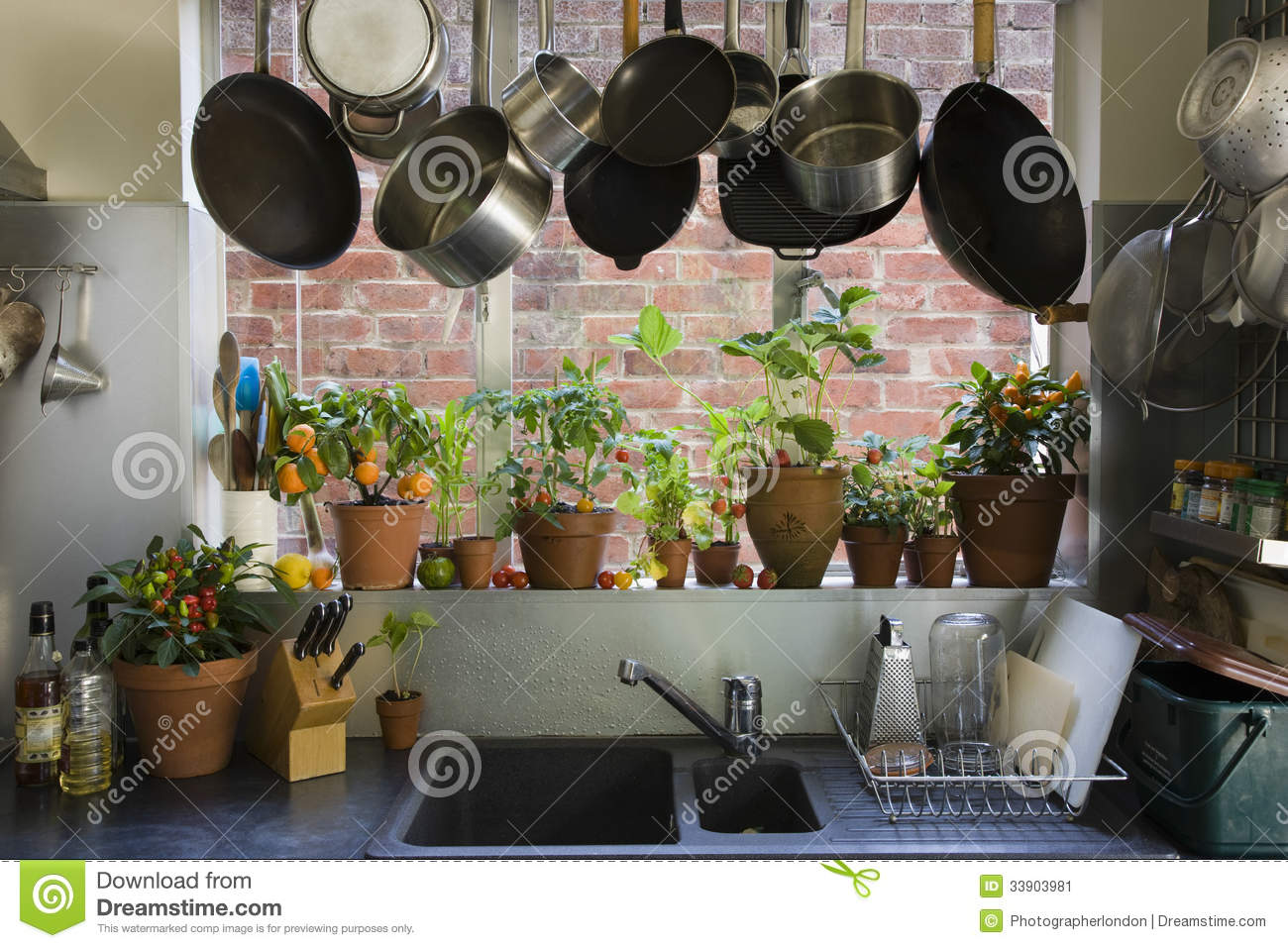 kitchen utensil rack mexican table view of domestic stock image. image ...